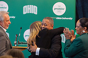 Ohio University President Roderick J. McDavis  hugs Char Kopchick following the announcement that her and her husband John's contribution allowed The Promise Lives campaign to meet their goal of $450 million 14 months before the deadline.  Photo by Ohio University / Jonathan Adams
