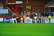 Luton celebrate scoring their opening goal during the Sky Bet League 2 match between Exeter City and Luton Town at St James' Park, Exeter, England on 19 December 2015. Photo by Graham Hunt.