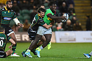 Northampton Saints fullback George Furbank (15) Tackles Harlequins wing Gabriel Ibitoye (11) during the Gallagher Premiership Rugby match between Northampton Saints and Harlequins at Franklins Gardens, Northampton, United Kingdom on 1 November 2019.