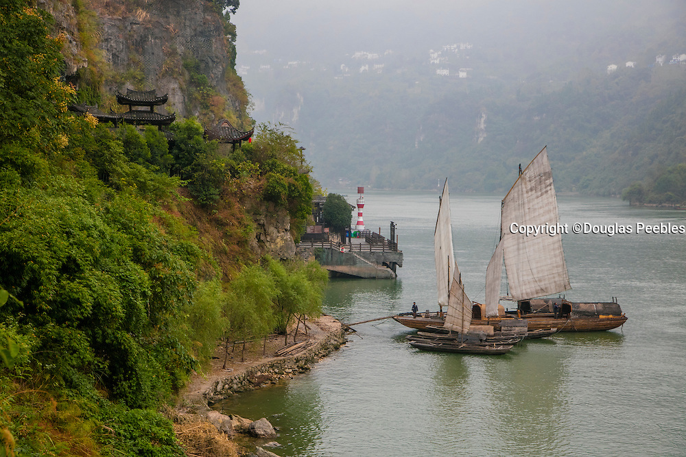 Sailing Chinese Junk Boat, Shennong Stream, Hubei Province, Yangtze River, China