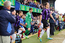 Mark McChrystal (NIR) of Bristol Rovers  leads his side out - Photo mandatory by-line: Rogan Thomson/JMP - 07966 386802 - 19/04/2014 - SPORT - FOOTBALL - Fratton Park, Portsmouth - Portsmouth FC v Bristol Rovers - Sky Bet Football League 2.