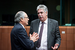 (L-R) Malta's Finance Minister Edward Scicluna and Austria's Finance Minister HansJoerg Schelling speaks during an emergency Eurogroup finance ministers meeting at the European Council in Brussels, Belgium on 20.02.2015 Eurogroup head Jeroen Dijsselbloem was working overtime on February 20 to save a make-or-break meeting on Greece's demand to ease its bailout programme as Germany insisted it stick with its austerity commitments after days of sharp exchanges, the 19 eurozone finance ministers gathered for the third time in little over a week to consider Athens' take-it or leave-it proposal to extend an EU loan programme which expires this month. by Wiktor Dabkowski. EXPA Pictures © 2015, PhotoCredit: EXPA/ Photoshot/ Wiktor Dabkowski<br /> <br /> *****ATTENTION - for AUT, SLO, CRO, SRB, BIH, MAZ only*****