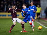 Football - 2019 / 2020 William Hill Scottish Cup - Quarter-Final: Heart of Midlothian vs. Rangers<br /> <br /> Ryan Kent of Rangers vies with Micheal Smith of Hearts, at Tynecastle Park, Edinburgh.<br /> <br /> COLORSPORT/BRUCE WHITE
