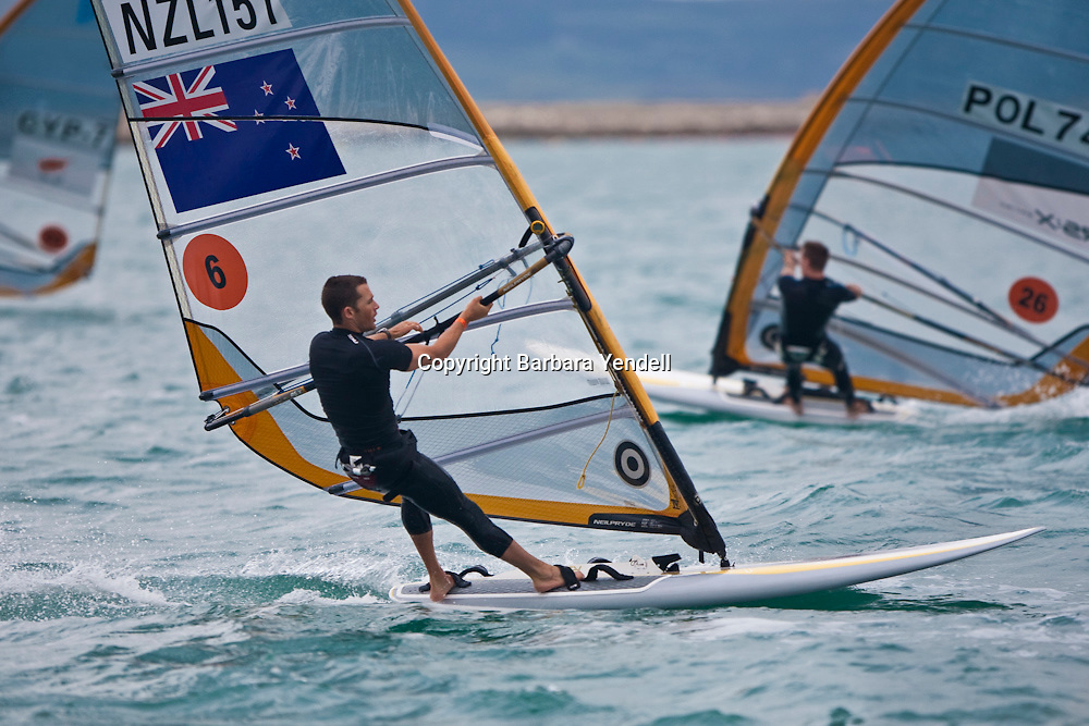 Jon Paul Tobin (NZL) competes during Day 2 of the 2009 RS:X Windsurfing World Championships held in Weymouth, England, 5 September 2009. Photo: Barbara Yendell/PHOTOSPORT
