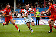 Bradford Bulls centre Lee Smith (1) scores a try to make the score 18-30 during the Kingstone Press Championship match between Sheffield Eagles and Bradford Bulls at, The Beaumont Legal Stadium, Wakefield, United Kingdom on 3 September 2017. Photo by Simon Davies.