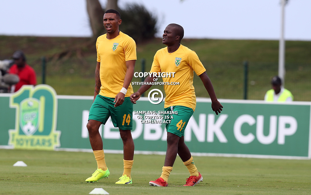 Siyabonga Dube of Golden Arrows with Lerato Lamola of Golden Arrowsduring the 2017 Nedbank Cup match between Golden Arrows and Maritzburg Utd held at the Princess Magogo Stadium in Durban, South Africa on the 12th March 2017<br /> Photo by:   Steve Haag