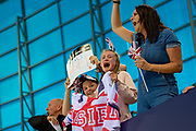Maisie Summers-Newton of Great Britain fans during the World Para Swimming Championships 2019 Day 3 held at London Aquatics Centre, London, United Kingdom on 11 September 2019.