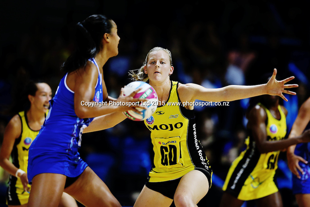 Katrina Grant of the Pulse defends against Maria Tutaia of the Mystics. 2015 ANZ Championship, Northern Mystics v Central Pulse, The Trusts Arena, Auckland, New Zealand. Photo: Anthony Au-Yeung / www.photosport.co.nz
