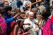 Pope Francis meets members of the International Association of Indigenous Peoples during a weekly general audience in St Peter's Square at Vatican on May 30, 2018.