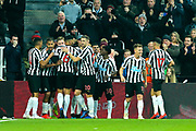 Fabian Schar (#5) of Newcastle United celebrates Newcastle United's first goal (1-0) with Newcastle United team mates during the Premier League match between Newcastle United and Cardiff City at St. James's Park, Newcastle, England on 19 January 2019.