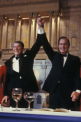 Oct 24, 1986; Tulsa, OK, USA; President RONALD REAGAN announces his support of Vice President GEORGE BUSH'S 1988 presidential bid at a dinner at Maison Blanche.  (Credit Image: © Arthur Grace/ZUMAPRESS.com)