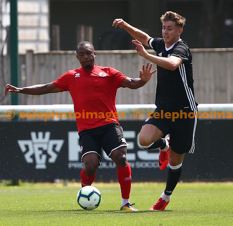 Crawley's Ashley Nathaniel George during the pre season friendly between Fulham and Crawley Town at Motspur Park Training Ground, London, UK. 07 July 2018.