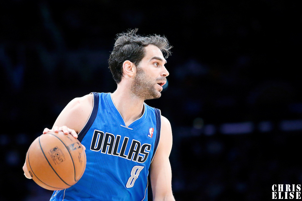 04 April 2014: Dallas Mavericks guard Jose Calderon (8) is seen during the Dallas Mavericks 107-95 victory over the Los Angeles Lakers at the Staples Center, Los Angeles, California, USA.