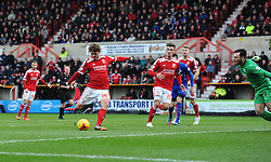 Swindon Town's John Swift scores against Chesterfield in the Sky Bet League One match between Swindon Town and Chesterfield at The County Ground on January 17, 2015 in Swindon, England. - Photo mandatory by-line: Paul Knight/JMP - Mobile: 07966 386802 - 17/01/2015 - SPORT - Football - Swindon - The County Ground - Swindon Town v Chesterfield - Sky Bet League One