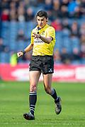 Referee Pascal Gauzere during the Heineken Champions Cup quarter-final match between Edinburgh Rugby and Munster Rugby at BT Murrayfield Stadium, Edinburgh, Scotland on 30 March 2019.