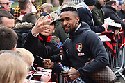 Jermain Defoe (18) of AFC Bournemouth having a selfie with a fan on arrival before the Premier League match between Bournemouth and Tottenham Hotspur at the Vitality Stadium, Bournemouth, England on 11 March 2018. Picture by Graham Hunt.