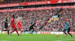 Bojan Krkic of Stoke City heads in the equaliser for 1-1  - Mandatory by-line: Matt McNulty/JMP - 10/04/2016 - FOOTBALL - Anfield - Liverpool, England - Liverpool v Stoke City - Barclays Premier League
