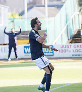 16th September 2017, Dens Park, Dundee, Scotland; Scottish Premier League football, Dundee versus St Johnstone; Dundee's Sofien Moussa celebrates after scoring from the penalty spot for 3-1