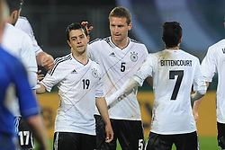 15.10.2013, Auestadion, Kassel, GER, UEFA U21 EM Qualifikation, Deutschland vs Faroer Inseln, Gruppe 6, 8. Runde, im Bild Jubel / Freude nach dem Treffer zum 3:2 durch Amin Younes (Deutschl, U21, Borussia Moenchengladbach) (M), Shkodran Mustafi (Deutschl, U21, Sampdoria Genua) (R) // during the UEFA U21 European Championship group six 8th round qualifier between Germany and Faroe Islands at the Auestadion in Kassel, Germany on 2013/10/15. EXPA Pictures © 2013, PhotoCredit: EXPA/ Eibner-Pressefoto/ Sippel<br /> <br /> *****ATTENTION - OUT of GER*****