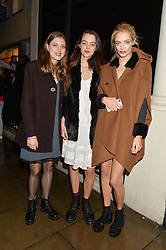 Left to right, ANNA ESPINOSA, ALEXANDRA MONCRIEFFE and her sister IDINA MONCRIEFFE at a private view of William Roper-Curzon's latest paintings held at Julian Hartnoll, 37 Duke Street, St.James's, London on 9th October 2014.