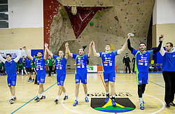 Players of Slovenia celebrate after winning during friendly handball match between National teams of Slovenia and Saudi Arabia before IHF World Men's Championship 2017, on December 30, 2016 in Brezice, Slovenia. Photo by Vid Ponikvar / Sportida