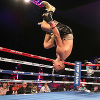 NEW ORLEANS, LA - JULY 14:  Teofimo Lopez backflips into the air after beating William Silva during their WBC Continental Americas Title boxing match at the UNO Lakefront Arena on July 14, 2018 in New Orleans, Louisiana.  (Photo by Alex Menendez/Getty Images) *** Local Caption *** Teofimo Lopez; William Silva