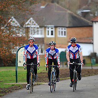 18.02.2012.Hertsmere Borough Council Magazine Shoot. .The new cycle lane at Parkfield in Potters Bar, which connects Byng Drive and the High Street. Pictured are the A-to-B cycling team (L-R) Chris Dixon, Matt Cardell-Williams and Edward Heseltine. .Photography © Blake-Ezra Cole. www.blakeezracole.com