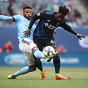NEW YORK, NEW YORK - April 12: Simon Dawkins #49 of San Jose Earthquakes is challenged by Ethan White #3 of New York City FC  during the New York City FC Vs San Jose Earthquakes regular season MLS game at Yankee Stadium on April 1, 2017 in New York City. (Photo by Tim Clayton/Corbis via Getty Images)