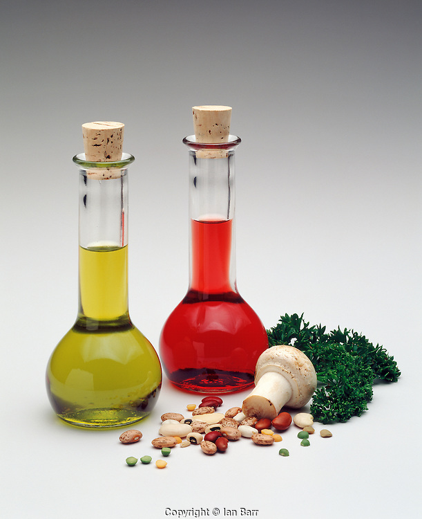 Oil & Vinegar in glass carafe's with mushroom, beans and parsley
