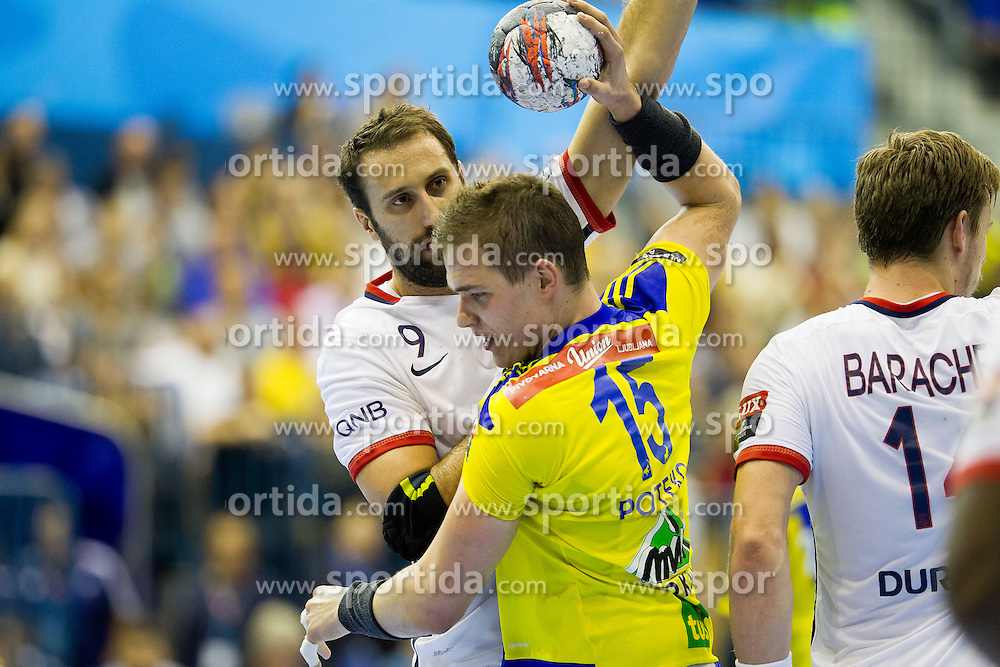 Igor Vori of Paris Saint-Germain and Vid Poteko of RK Celje Pivovarna Lasko during handball match between RK Celje Pivovarna Lasko (SLO) and Paris Saint-Germain (FRA) in Round #5 of Group Phase of EHF Champions League 2015/16, on October 18, 2015 in Arena Zlatorog, Celje, Slovenia. Photo by Urban Urbanc / Sportida