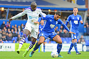 Newcastle United midfielder Mohamed Diame (15) and Birmingham City midfielder David Davis (26) tussle for possession 0-0 during the EFL Sky Bet Championship match between Birmingham City and Newcastle United at St Andrews, Birmingham, England on 18 March 2017. Photo by Alan Franklin.