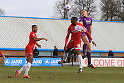 - Danny Wright heads towards goal during the Vanarama National League match between Welling United and Cheltenham Town at Park View Road, Welling, United Kingdom on 5 March 2016. Photo by Antony Thompson.