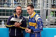 Renault E.Dams driver, Sebastien Buemi joking with engineer during round 10, Formula E, Battersea Park, London, United Kingdom on 3 July 2016. Photo by Matthew Redman.