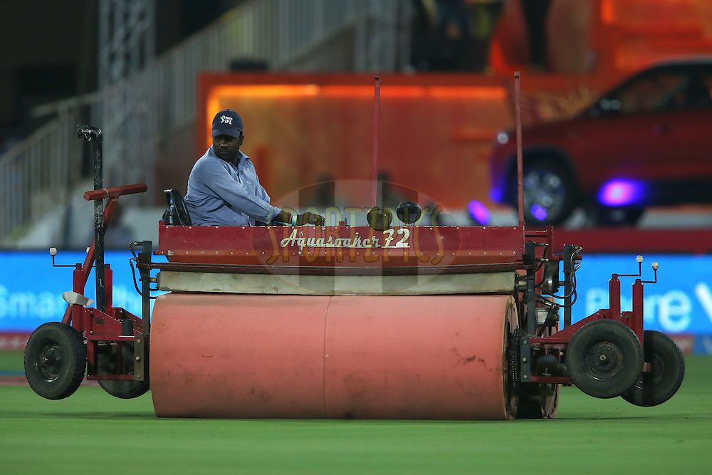 The Supersopper in action as rain delays the start during match 22 of the Vivo IPL 2016 (Indian Premier League) between the Sunrisers Hyderabad and the Rising Pune Supergiants held at the Rajiv Gandhi Intl. Cricket Stadium, Hyderabad on the 26th April 2016<br /> <br /> Photo by Shaun Roy / IPL/ SPORTZPICS