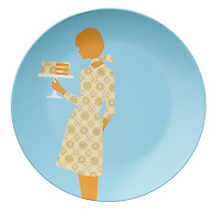 orange patterned woman decorating a blue plate