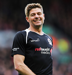 Steven Gerrard reacts after missing a chance- Photo mandatory by-line: Dougie Allward/JMP - Mobile: 07966 386802 - 29/03/2015 - SPORT - Football - Liverpool - Anfield Stadium - Gerrard's Squad v Carragher's Squad - Liverpool FC All stars Game
