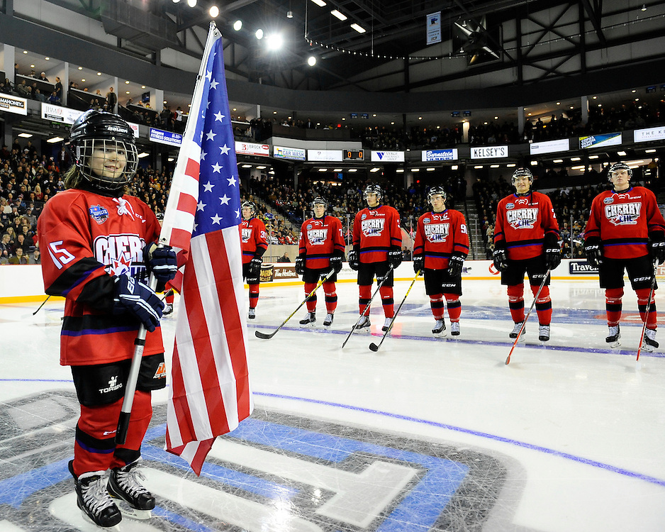 Action from the 2015 BMO CHL/NHL Top Prospects Game in St. Catharines, ON on Thursday January 22, 2015. Team Orr skated to a 6-0 win over Team Cherry. Photoby Aaron Bell/CHL Images