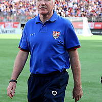 U.S. Head Coach Tom Sermanni is seen prior to a women's soccer International friendly match between Brazil and the United States National Team, at the Florida Citrus Bowl  on Sunday, November 10, 2013 in Orlando, Florida. The U.S won the game by a score of 4-1.  (AP Photo/Alex Menendez)