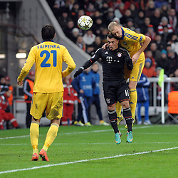 Xherdan SHAQIRI (FC Bayern Muenchen) erzielt das 3.0 mit dem Kopf.Bayern Muenchen vs. BATE Borisov, Champions League, Vorrunde, Spieltag 6, 05.12.2012..Nutzungshinweis: EIBNER-PRESSEFOTO Tel: 0172 837 4655............