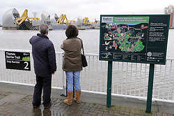 © Licensed to London News Pictures. 27/12/2012.The Thames Barrier has been raised for the first time in two years (today 27.12.12)  because of the excessive rain fall..today.Photo credit : Grant Falvey/LNP