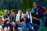 Ashgabat, Turkmenistan - 2017 September 19: Men rests on the bench at the Olympic Sport Complex while 2017 Ashgabat 5th Asian Indoor &amp; Martial Arts Games on September 19, 2017 in Ashgabat, Turkmenistan.<br /> <br /> Mandatory credit:<br /> Photo by &copy; Adam Nurkiewicz<br /> <br /> Adam Nurkiewicz declares that he has no rights to the image of people at the photographs of his authorship.<br /> <br /> Picture also available in RAW (NEF) or TIFF format on special request.<br /> <br /> Any editorial, commercial or promotional use requires written permission from the author of image.