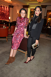 Left to right, ROSANNA FALCONER and ROXIE NAFOUSI at the unveiling of a Very Special Malone Souliers Christmas Tree, In Support Of Starlight Children's Foundation held at The Club Cafe Royal, Regent Street, London on 2nd December 2015.