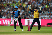 Hamish Rutherford of Worcestershire Rapids is bowled by Daniel Lawrence during the Vitality T20 Finals Day 2019 match between Worcestershire County Cricket Club and Essex County Cricket Club at Edgbaston, Birmingham, United Kingdom on 21 September 2019.
