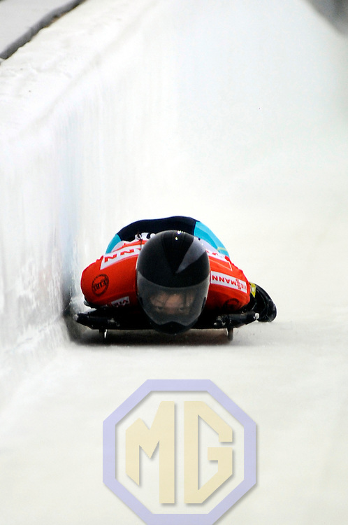 14 December 2007:  Nozomi Komuro of Japan competes at the FIBT World Cup Women's skeleton competition on December 14, 2007 at the Olympic Sports Complex in Lake Placid, NY.  The race was won by Katie Uhlander of the United States.
