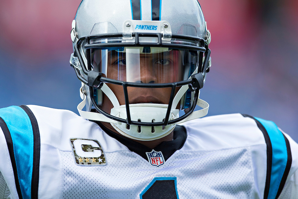 NASHVILLE, TN - NOVEMBER 15:  Cam Newton #1 of the Carolina Panthers stares into the camera while warming up before a game against the Tennessee Titans at Nissan Stadium on November 15, 2015 in Nashville, Tennessee.  (Photo by Wesley Hitt/Getty Images) *** Local Caption *** Cam Newton