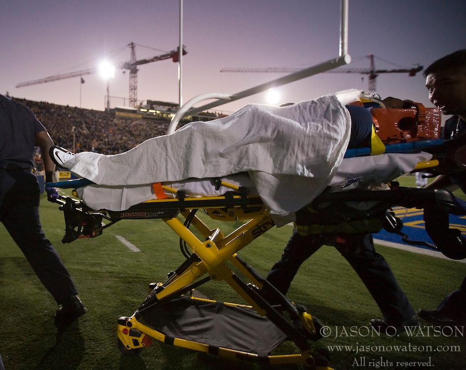 November 7, 2009; Berkeley, CA, USA;  California Golden Bears running back Jahvid Best (4) is carted off after sustaining an injury during the second quarter against the Oregon State Beavers at Memorial Stadium.