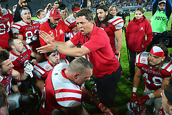04.06.2014, UPC Arena, Graz, AUT, American Football Europameisterschaft 2014, Gruppe B, Frankreich (FRA) vs Oesterreich (AUT), im Bild Mannschaftsbesprechung mit Jakob Dieplinger, (Team Austria, Headcoach) nach dem Sieg // during the American Football European Championship 2014 group B game between France vs Austria at the UPC Arena, Graz, Austria on 2014/06/04. EXPA Pictures © 2014, PhotoCredit: EXPA/ Thomas Haumer