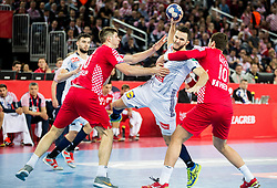 Romain Lagarde of France vs Marko Mamic of Croatia and Jakov Gojun of Croatia during handball match between National teams of Croatia and France on Day 7 in Main Round of Men's EHF EURO 2018, on January 24, 2018 in Arena Zagreb, Zagreb, Croatia.  Photo by Vid Ponikvar / Sportida