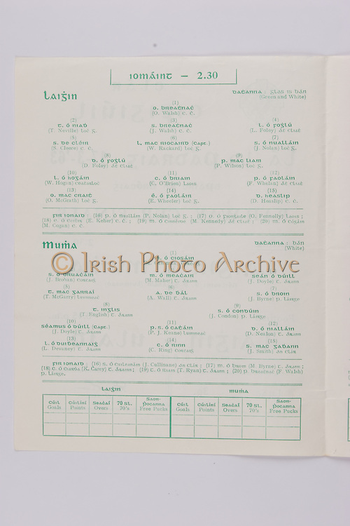Interprovincial Railway Cup Football Cup Final,  17.03.1963, 03.17.1963, 17th March 1963, referee S O Ceirin , Leinster 1-09, Ulster 2-08, .Interprovincial Railway Cup Hurling Cup Final,  17.03.1963, 03.17.1963, 17th March 1963, referee S O Gliasam, Leinster 5-05, Munster 5-05, Hurling Team Leinster, O Walsh, T Neville, J Walsh, L Foley, S Cleere, W Rackard, J Nolan, D Foley, P Wilson, W Hogan, C O'Brien, F Whelan, O'McGrath, E Wheeler, D Heaslip, Hurling Team Munster, M Cashman, J Brohan, M Maher, J Doyle, T McGarry, A Wall,  J Byrne, T English, J Condon, J Doyle, P J Keane, D Nealon, L Devaney, C Ring, J Smith.