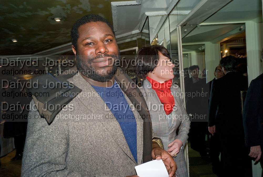 STEVE MCQUEEN; MARTINE D'ANGLEJAN-CHATILLON, South Bank Show Awards, Dorchester Hotel, Park Lane. London. 20 January 2009 *** Local Caption *** -DO NOT ARCHIVE-© Copyright Photograph by Dafydd Jones. 248 Clapham Rd. London SW9 0PZ. Tel 0207 820 0771. www.dafjones.com.<br /> STEVE MCQUEEN; MARTINE D'ANGLEJAN-CHATILLON, South Bank Show Awards, Dorchester Hotel, Park Lane. London. 20 January 2009